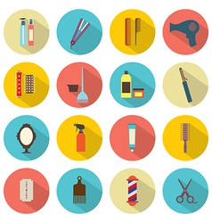 Flat Design Hairdressing Icons Set 16 vector image
