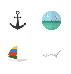 flat icon summer set of deck chair ship hook vector image