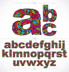 Floral font hand-drawn lowercase alphabet letters vector image