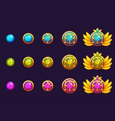Gems award progress golden amulets set with round vector