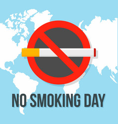 Global no smoking day concept background flat vector