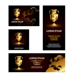 golden low poly sports euro cup banners set vector image