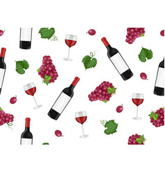 grape bunch seamless pattern with red wine vector image