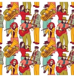 Group street musicians seamless color pattern vector
