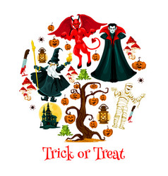 halloween trick or trear festive poster design vector image