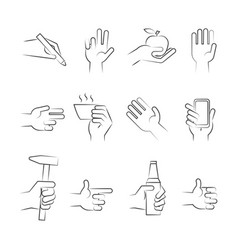 hand drawn hand icons with tools and other objects vector image vector image