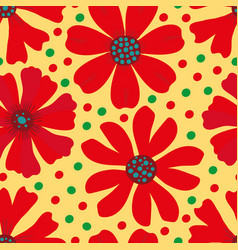 hand drawn red green and blue blooming flowers on vector image