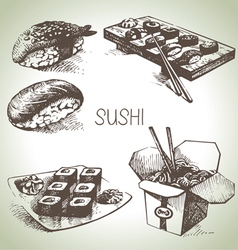 Hand drawn sushi set vector image vector image