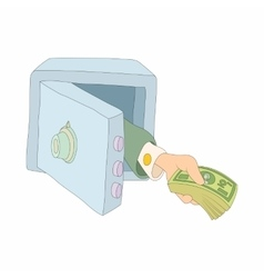 Hand giving money from the safe icon vector
