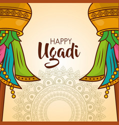 Happy ugadi card mandalas celebration culture vector