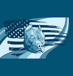 Head pitbull with american flag vector