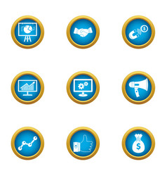 Information output icons set flat style vector