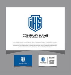 Initials ihg logo letters shielding pattern vector