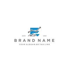 Letter e mountain finance logo design concept vector