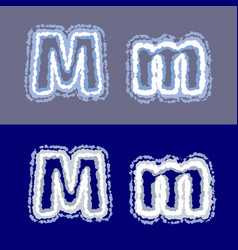 letter m on grey and blue background vector image