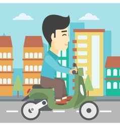 Man riding scooter vector image