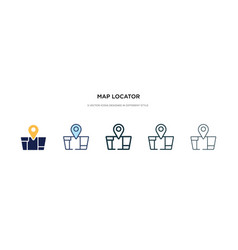 Map locator icon in different style two colored vector