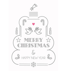 Merry Christmas line icons card vector image