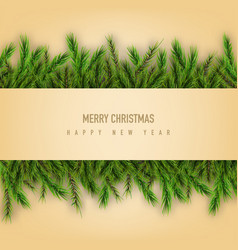 merry christmas retro design with pine branches vector image