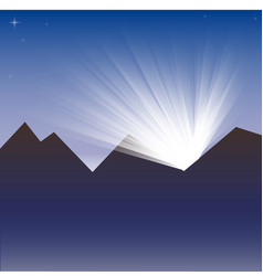 Mountain landscape with the very first sunlight vector