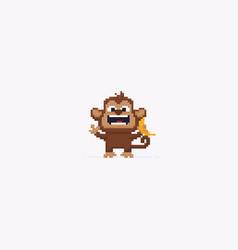 pixel art monkey vector image