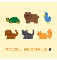 Pixel art style animals cartoon set 2 vector image