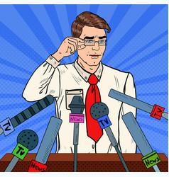 Pop art man giving press conference vector