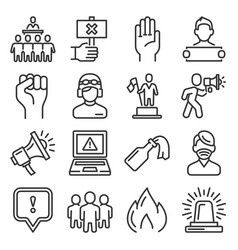 Protest icons public citizen demonstration set vector