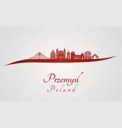 przemysl skyline in red vector image