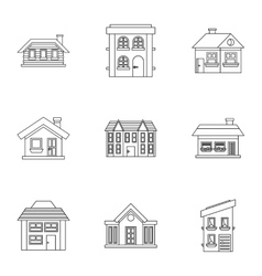 Residence icons set outline style vector