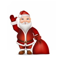 Santa with a bag of gifts waving his hand vector