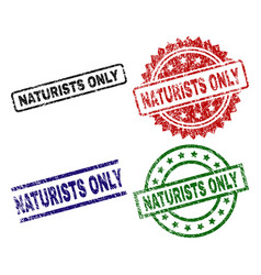 Scratched textured naturists only seal stamps vector