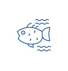 sea fish line icon concept sea fish flat vector image