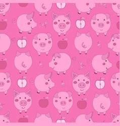 Seamless pattern with cartoon pink pigs apples vector