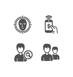 Search people phone payment and face detect icons vector