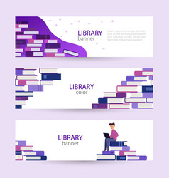 Set banners online library large pile books on vector