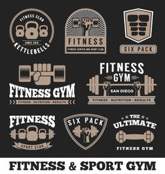 Set fitness gym and sport club logo emblem vector