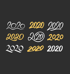 set new year 2020 calligraphy numbers vector image