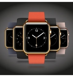 Set of 5 edition modern shiny golden smart watches vector image