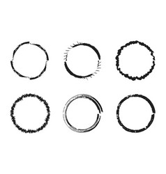 Set of black grunge circles round frames vector