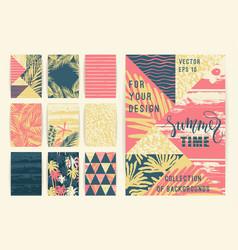 Set of summer background templates design vector