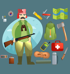 Set with a hunter and inventory vector