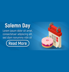 Solemn day concept banner isometric style vector