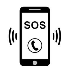 sos call icon phone call help vector image