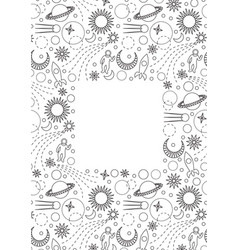 Space doodle frame vector