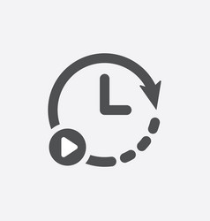 start time icon clock logo design vector image