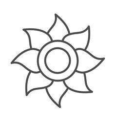Sunflower flower agriculture farming line icon vector