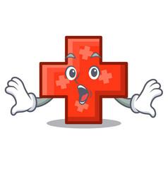 surprised cross mascot cartoon style vector image
