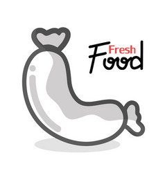 tasty sausage fast food icon vector image