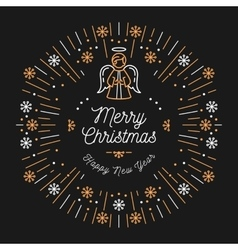 Trendy Christmas Card Happy New Year Minimal vector